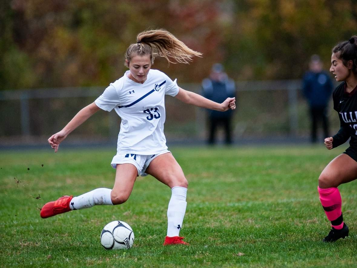 Senior captain Carley Schmidt and the Morgan girls' soccer team are looking to reestablish the Huskies as a on the of the Shoreline Conferences top teams again in 2020. Schmidt led the Huskies in goals scored with 13 last season. File photo by Susan Lambert/Harbor News