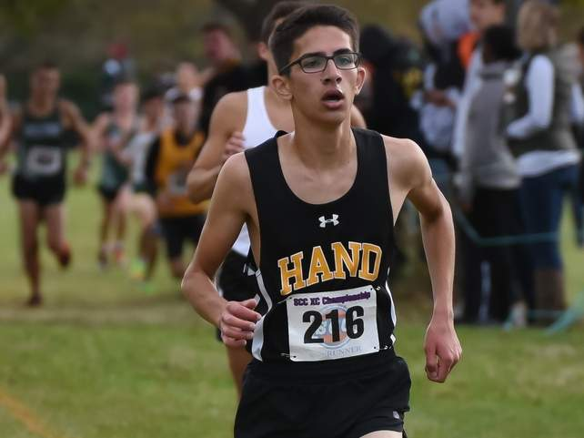 Connor Parthasarthy and the Hand boys cross' country squad are hosting East Haven and North Haven for a tri-meet at the Surf Club this fall. File photo by Kelley Fryer/The Source