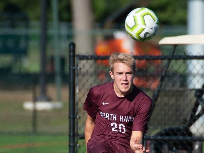 Tanner Powell and the North Haven boys' soccer squad are playing a home game against Hamden to open up the 2020 season. File photo by Kelley Fryer/The Courier