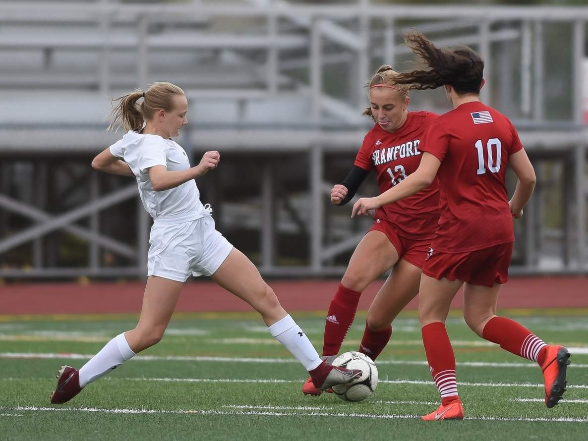 Ada Forbes and the North Haven girls' soccer squad are hosting Cheshire for their home opener at 6 p.m. on Tuesday, Oct. 6. File photo by Kelley Fryer/The Courier