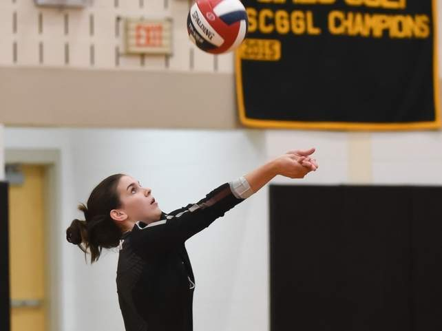 Lily Pollard and the North Haven girls' volleyball squad are hosting Sheehan for their season opener at 5:15 p.m. on Thursday, Oct. 1. File photo by Kelley Fryer/The Courier