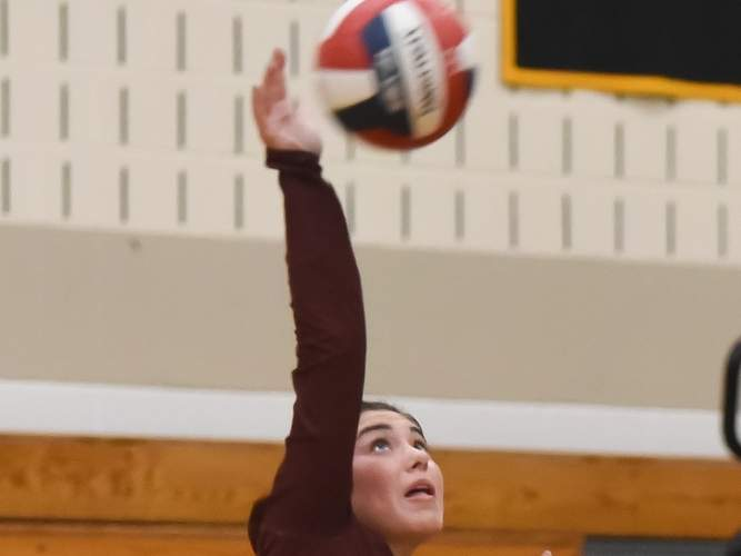 Senior captain Alex Ferriouolo is one of the savvy veterans who will be leading a young North Haven girls' volleyball squad on the court this fall. File photo by Kelley Fryer/The Courier