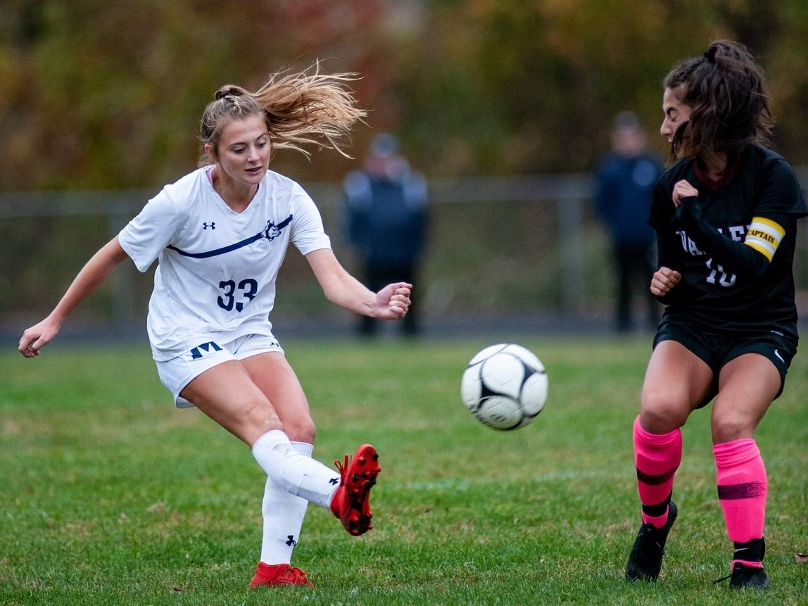 Carley Schmidt and the Morgan girls' soccer team picked up a win and a tie to move their record to 1-1-1 last week. Schmidt scored a hat trick in the Huskies' 9-0 win against Hale-Ray on Oct. 6. File photo by Susan Lambert/Harbor News