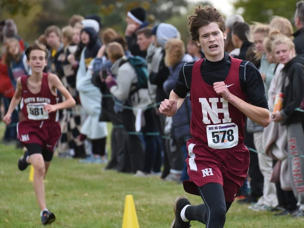 Senior captain Patrick Rourke came in seventh place to help the North Haven boys' cross country team gain a split of its tri-meet against Sheehan and Xavier at Wharton Brook State Park on Oct. 7. File photo by Kelley Fryer/The Courier