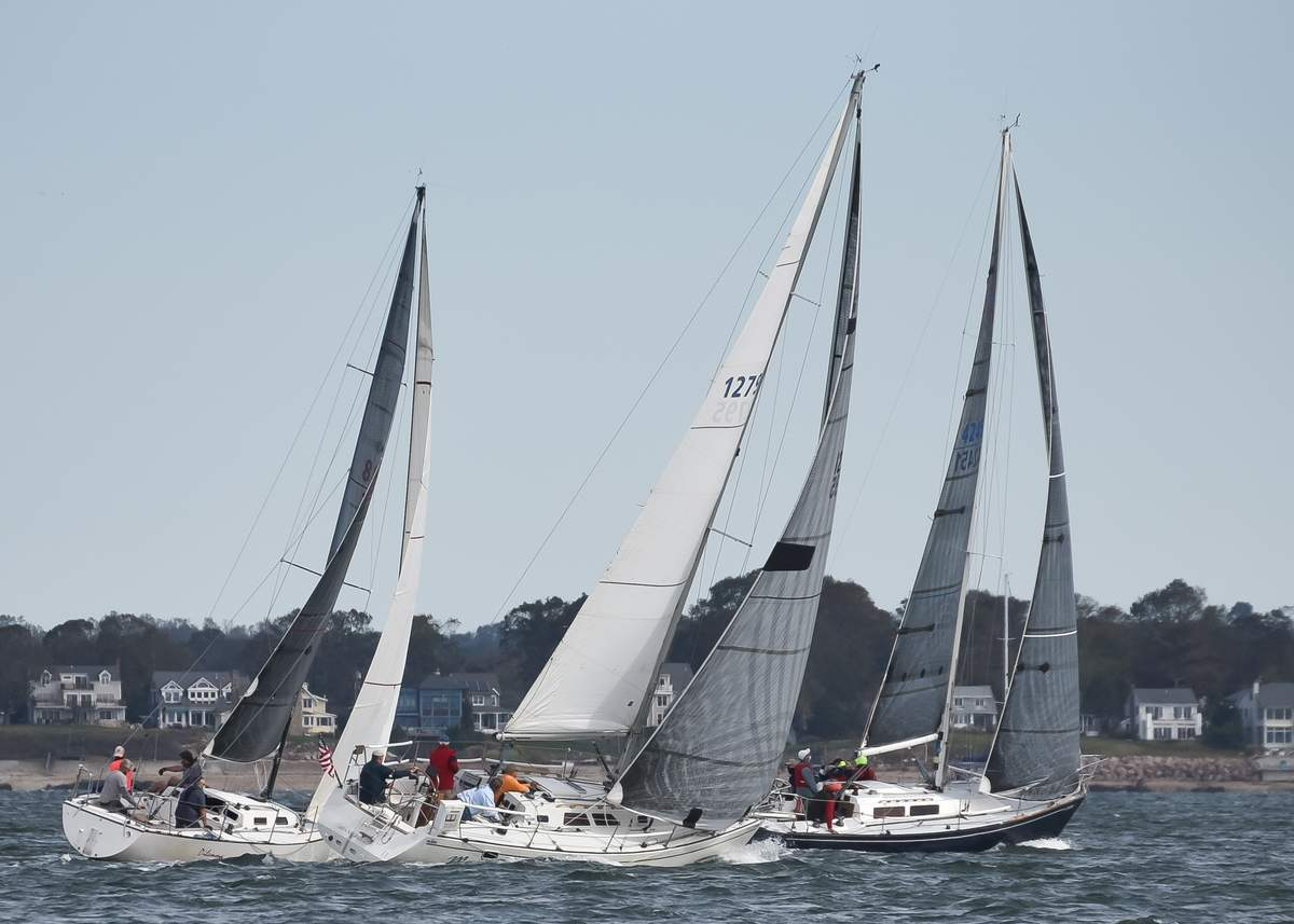 "The annual Around Faulkner's Island race took place at 11:15am Sunday morning October 11th,  with both spinnaker and cruising class boats starting at the same time, approximately 200 yards South of Cow & Calf by R ""34"", off Branford and rounding Faulkner's Island and finishing back at the starting line, each boat taking their own time and reporting it.  Photo by Kelley Fryer/The Sound"