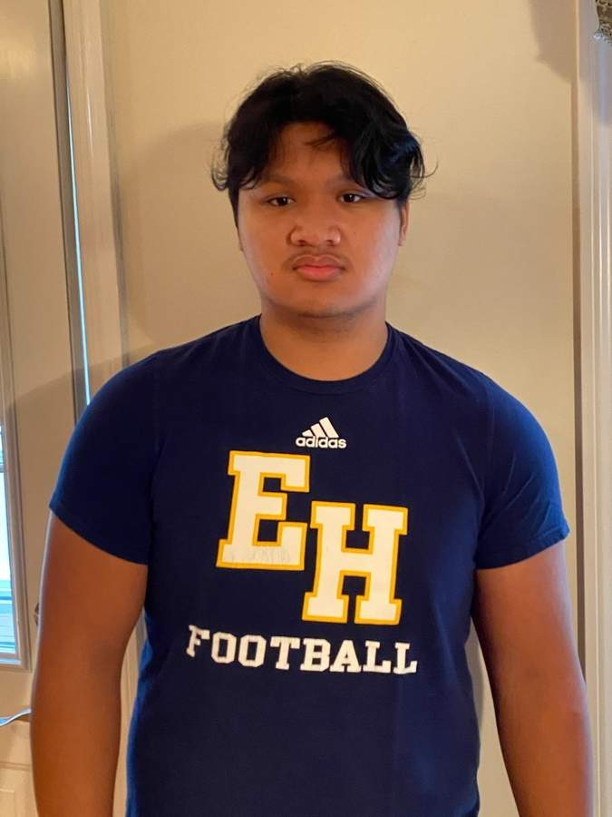 Senior lineman Kristjan Fonacier stands to be a three-year varsity starter with the East Haven football team if the Yellowjackets have a season in the spring. Kristjan is set to play right guard and will also line up on the defensive side of the ball.  Photo courtesy of Kristjan Fonacier
