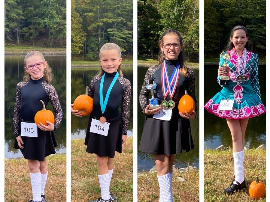 Four students who attend the Mulkerin School of Irish dance at Westbrook Dance Academy recently competed at the Rince Tuatha Nua Lee Harvest Feis. Pictured are Avery Bragg (Clinton), Neilly Erlandson (East Haddam), Audrey Bragg (Clinton), and Olivia Hartmann (Clinton). Photo courtesy of Westbrook Dance Academy