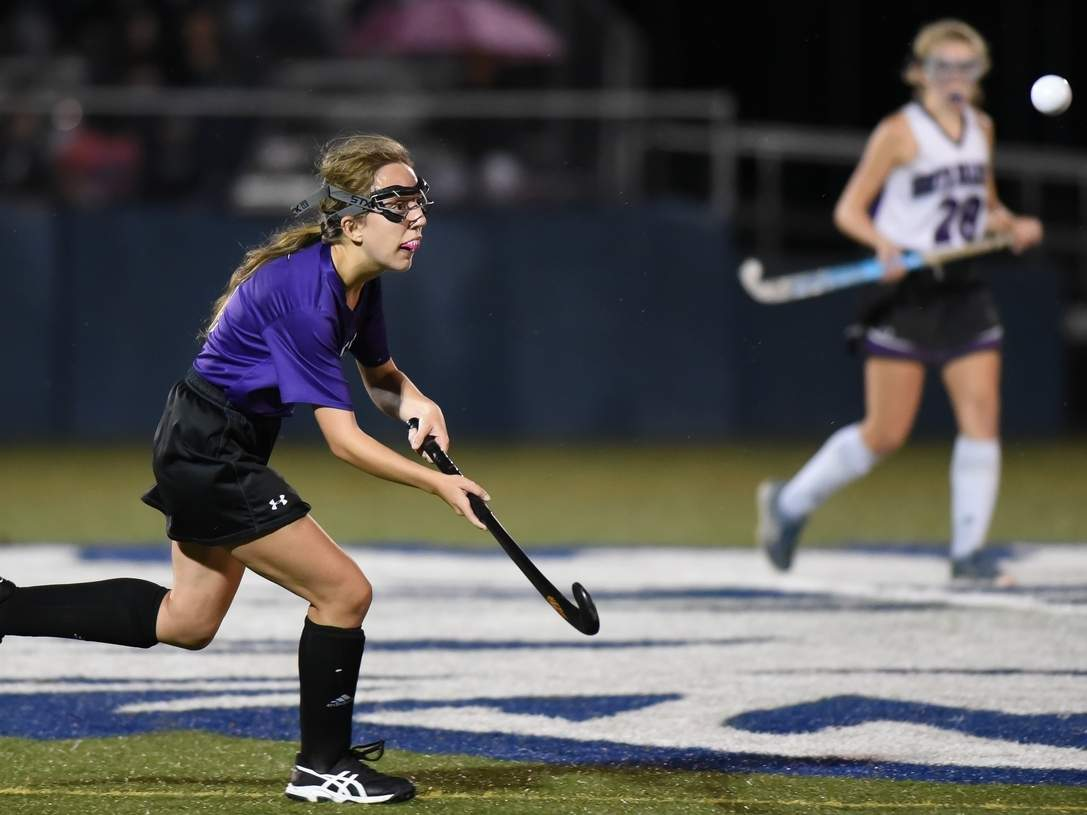 Senior Brooke Neri and the Westbrook field hockey team earned wins in both of their games last week to move to 2-2-1 on the season. Neri has been an important part of the Knights' offense, especially on corners. File photo by Kelley Fryer/Harbor News
