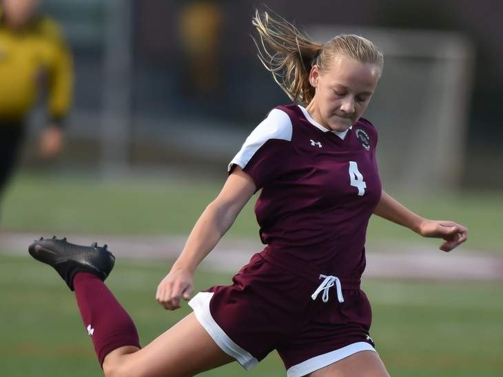 Junior Ada Forbes scored the go-ahead goal late in the game to lift the North Haven girls' soccer squad to a 5-4 victory versus Lyman Hall on Oct. 20. File photo by Kelley Fryer/The Courier