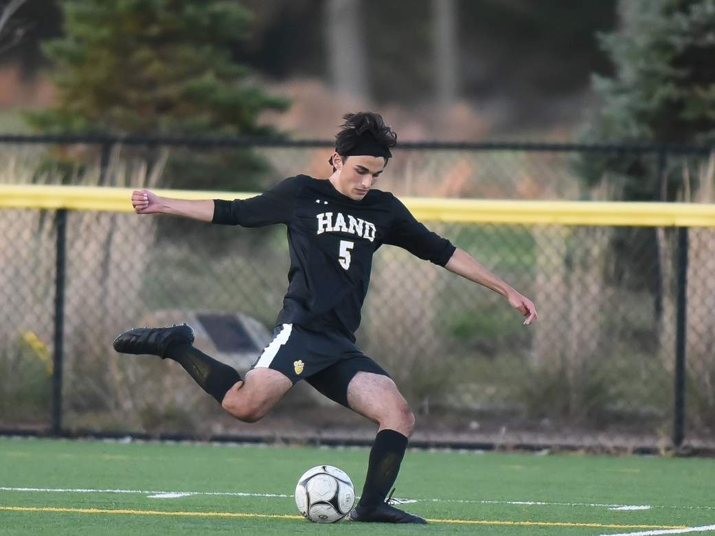 Senior Matthew Luongo had an assist when the Hand boys' soccer squad rallied for a 2-1 victory against Xavier last week. The Tigers went on to get a 5-2 win over Branford to improve to 6-0 this fall. File photo by Kelley Fryer/The Source