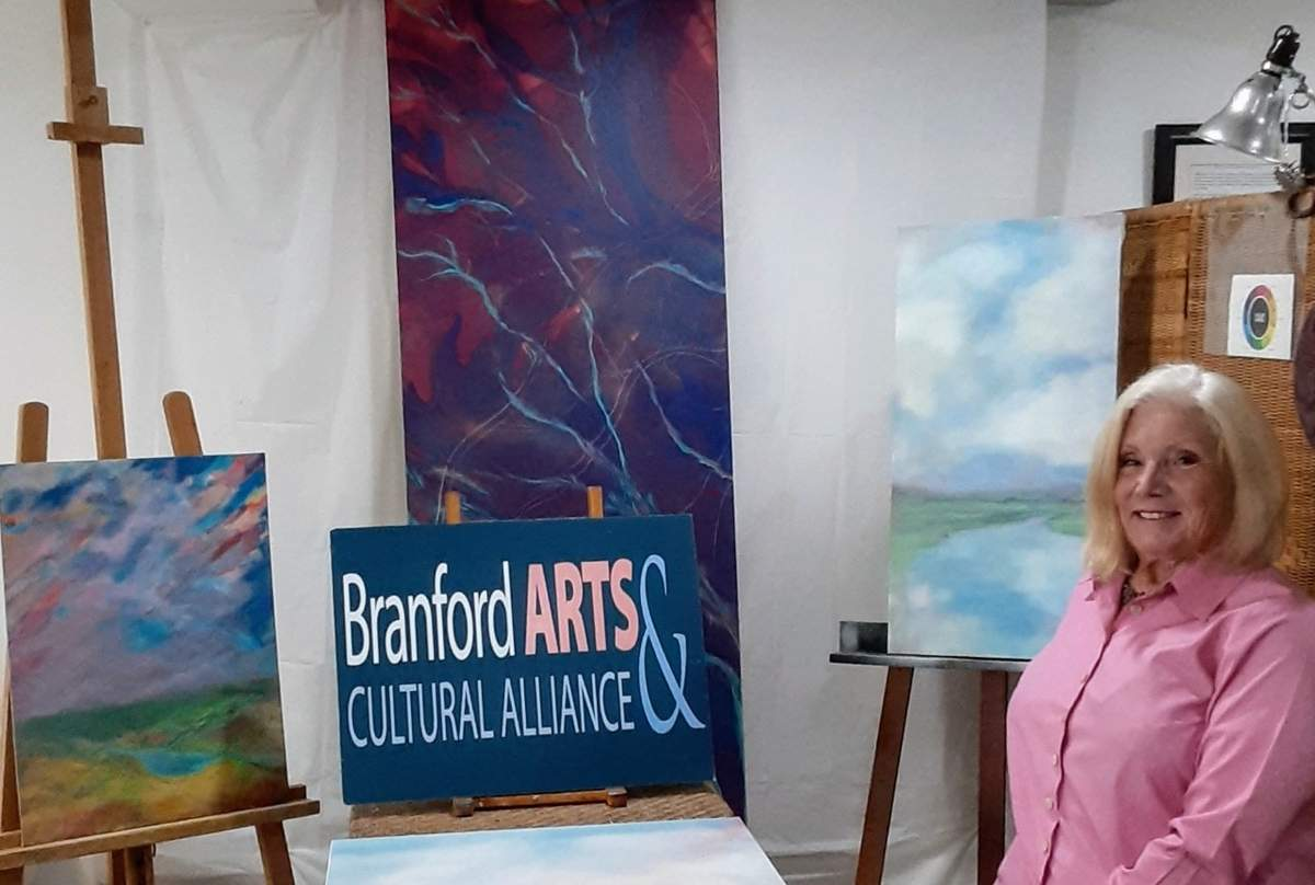 Artist and educator Maryann Beatty Cook will share several beautifully painted doors among some 80 original designs on display at Branford Arts & Cultural Alliance's (BACA) The Painted Doors of Branford, which she's helping to organize. The free public art walk is coming to downtown Branford Saturday, Nov. 7 and Sunday, Nov. 8 to help bring crowds to support local businesses along the stroll and to benefit non-profit BACA's first student Arts Scholarship. Photo courtesy of Maryann Beatty Cook