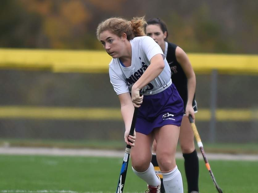 Senior Bailey Roberts and the Westbrook field hockey team played Valley Regional to 1-1 draw on Oct. 26. The Knights' record moved to 2-3-3 on the season after the result.  File photo by Kelley Fryer/Harbor News