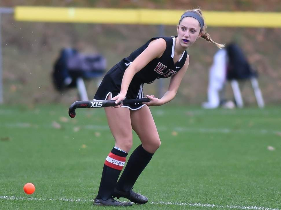 Senior captain Lauren Weigman and the Valley Regional field hockey team notched a tie and a loss last week. Weigman scored the Warriors' goal in the team's tie versus Westbrook on Oct. 26. Photo by Kelley Fryer/The Courier