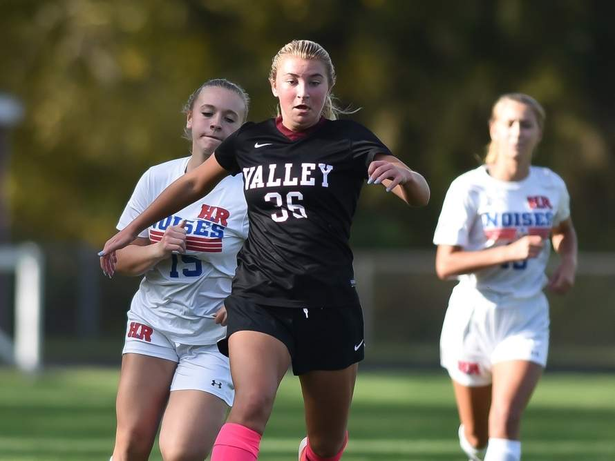 Junior Bitzy Klomp and the Valley Regional girls' soccer squad claimed a win 2-1 roas win over Haddam-Killingworth on Nov. 2. File photo by Kelley Fryer/The Courier
