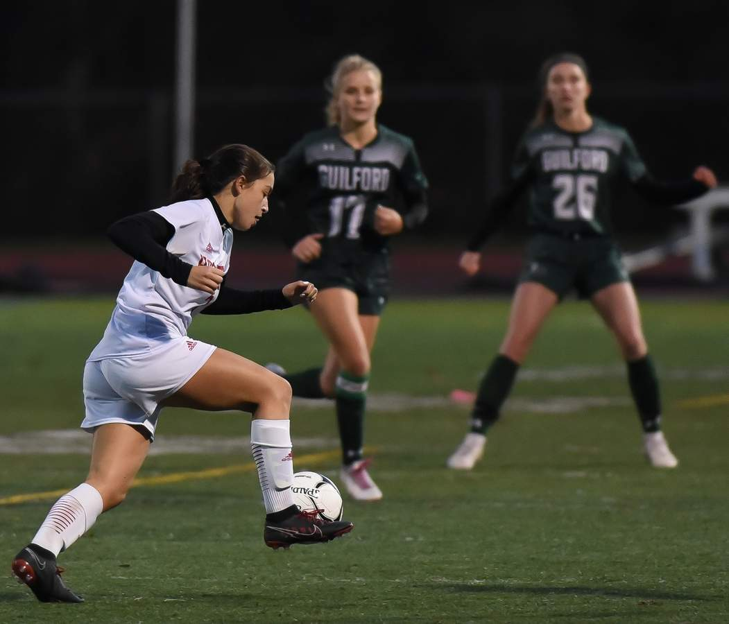 Branford girls soccer lost to Guilford 0-1 in OT in the SCC Championship game at Guilford High School. Ava Ferrie  (3) Photo by Kelley Fryer/The Sound