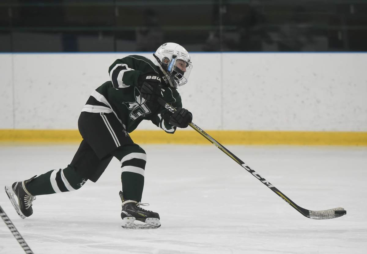 Guilford girls hockey beat Hamden-Wilbur Cross-Lyman Hall-O'BrienTech 11-3 at the Lou Astorino Ice Rink. Madison Epke (20) Photo by Kelley Fryer/The Courier