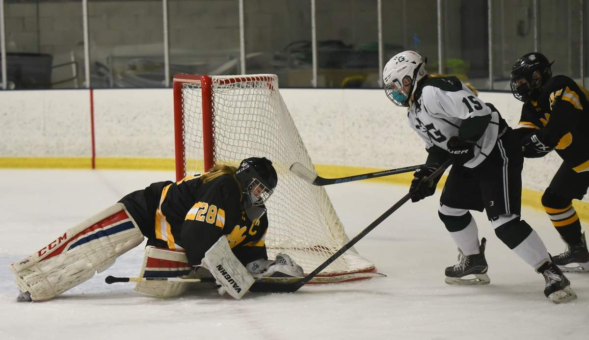 Daniel Hand girls hockey co-op lost to Guilford 6-9 at the North Haven Ice Pavillion. Megan Hart (28), Brynn McKeown (13)  Photo by Kelley Fryer/The Source