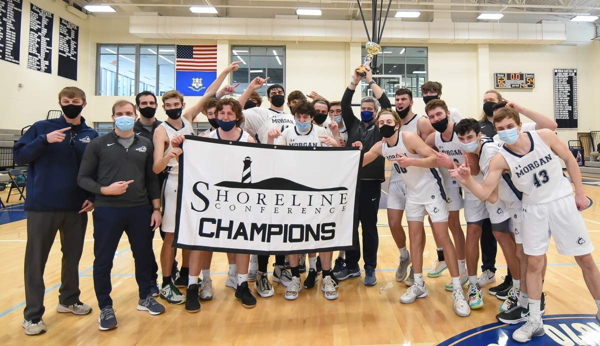 Morgan boys basketball won the Shoreline Conference Championship beating Valley 62-54 at The Morgan School. Photo by Kelley Fryer/Harbor News