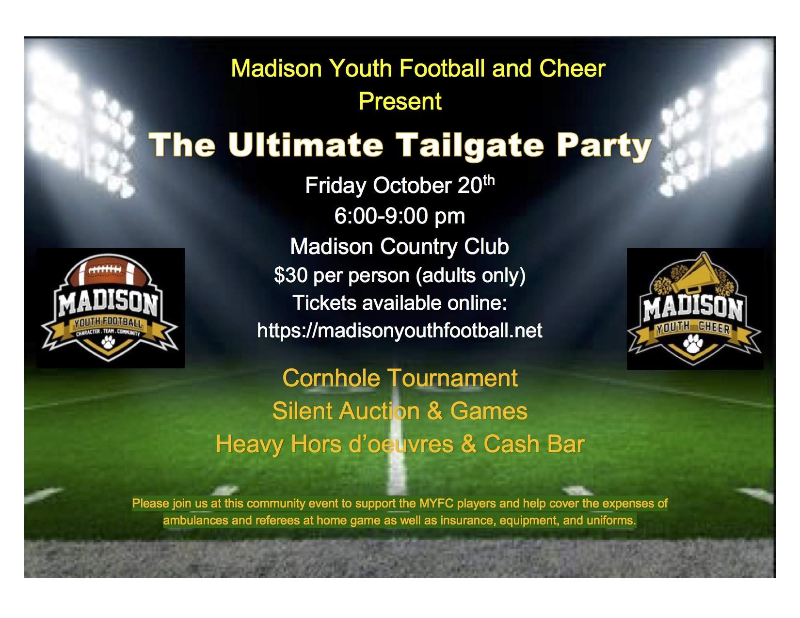 Madison Youth Football and Cheer Present The Ultimate Tailgate Party (Fundraiser)