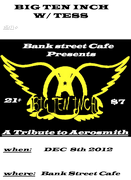 The Big Ten Inch (Aerosmith Tribute band) w/ TESS; Saturday, December, 8, 2012