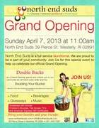 Grand Opening of North End Suds!; Sunday, April, 7, 2013